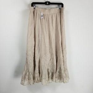 NWT Krazy Kat laced detailed skirt XXL tan boho